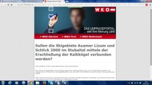 screenshot von wk-interaktiv, dem online- Umfrageportal der Wirtschaftskammer