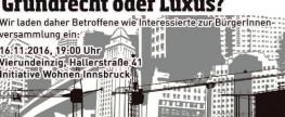 Einladung zur BürgerInnenversammlung: Wohnen in Innsbruck